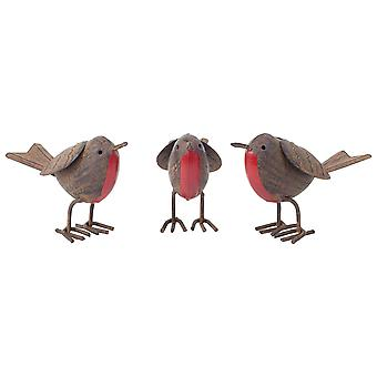 Set van 3 Rusty Tin metalen Robin vogel tuin of huis ornamenten