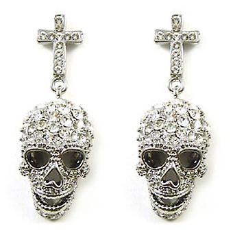 Butler & Wilson Crystal Cross & Skull Earrings