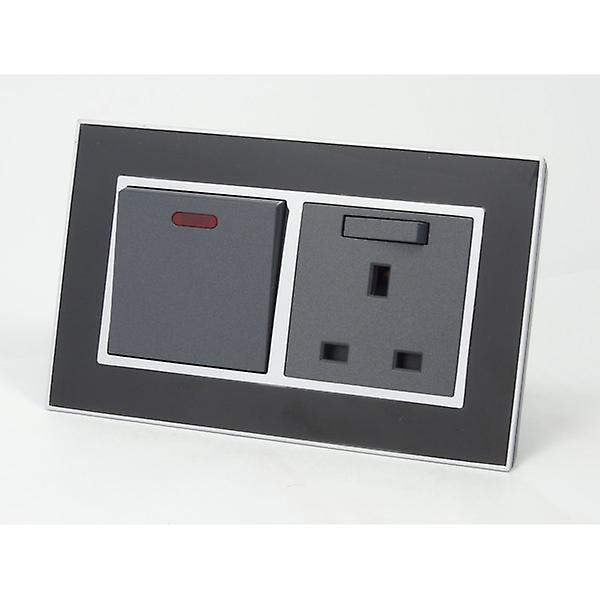 I LumoS AS Luxury Black Mirror Glass Double 45A Switch with Switched 13A UK Socket