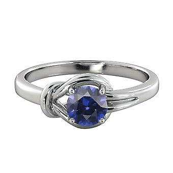 0.50 ctw Blue Sapphire Ring 14K White Gold Knot  4 prongs Round