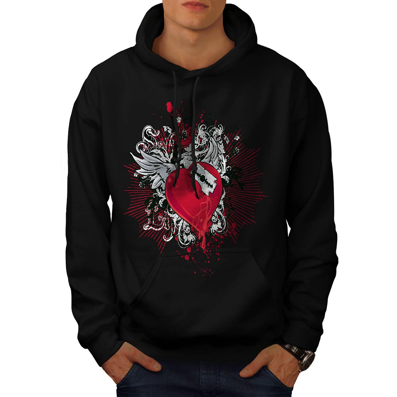 Key To My Heart Love Razor Blade Men Black Hoodie | Wellcoda