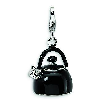 Sterling Silver 3-D Enameled Black Tea Kettle With Lobster Clasp Charm - Measures 28x14mm