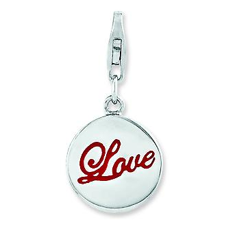 Sterling Silver Rhodium Plated Enameled Love With Lobster Clasp Charm - 2.7 Grams