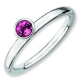 Sterling Silver Expressions empilable hauteur 4 mm rond rose Tourm. Bague - Ring taille: 5 à 10