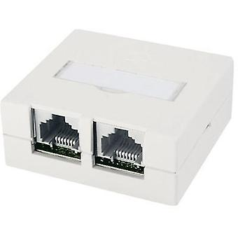 Network outlet Surface-mount Unequipped Telegärtner Pure white