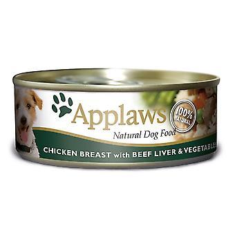 Applaws hund kan kylling oksekød lever & grøntsager 156g (pakke med 12)
