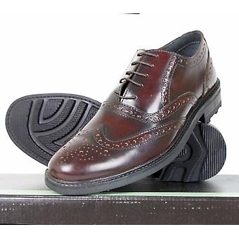 Roamers 5 Eyelet Brogue Oxford Real Leather OXBLOOD Red Classic Mens Dress Shoes Size 6