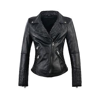 Attitude Clothing Faux Leather Studded Moto Jacket