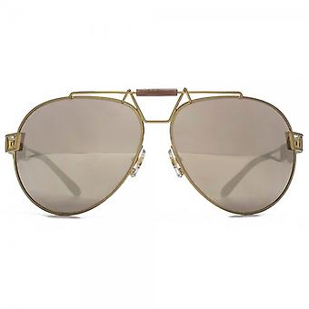 Versace Signature Aviator Sunglasses In Bronze