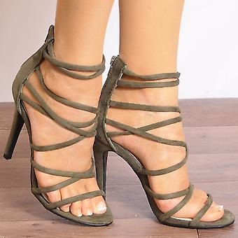 Shoe Closet Ladies Ed21 Khaki Green Peep Toes Ankle Strap Stilettos Strappy Sandals High Heels