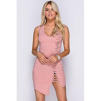 Lace Up Detail Sleeveless Bodycon Dress