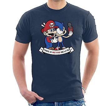 Selfie retro Sonic y t-shirt Mario los hombres