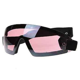 Frameless Protective Eyewear UV400 | Sports Shield Goggles with Adjustable Strap