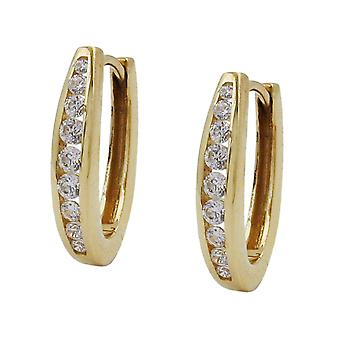 Klappcreolen gold 375 gold Creole folding hinge cubic zirconia earrings 9 KT GOLD