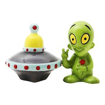 Lille grøn udlænding og flyvende tallerken Salt og peber Shaker sæt