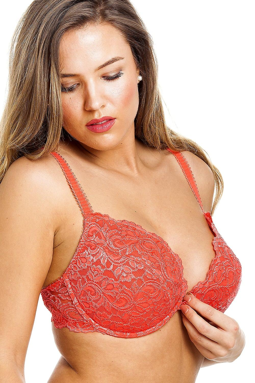d06973e980338 Camille Camille Womens Ladies Tangerine Push Up Plunge Padded Underwired  Bra Size 34A-40G