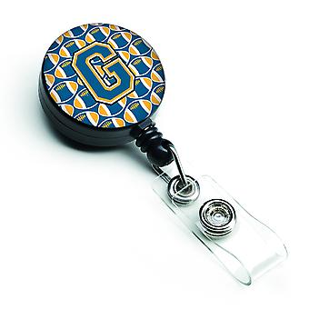 Letter G Football Blue and Gold Retractable Badge Reel