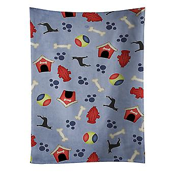 Dog House Collection Black Cropped Great Dane Kitchen Towel