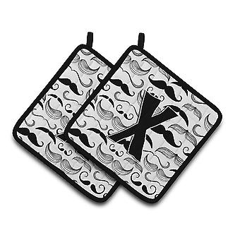 Carolines Treasures  CJ2009-XPTHD Letter X Moustache Initial Pair of Pot Holders