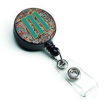 Letter M Retro Tribal alfabet eerste intrekbare Badge Reel