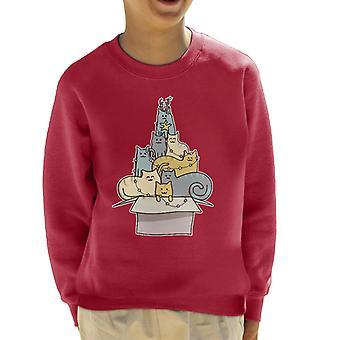 قميص من النوع الثقيل القط Kawaii شجرة عيد الميلاد كيد