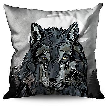 Old Wolf Beast Eye Linen Cushion Old Wolf Beast Eye | Wellcoda