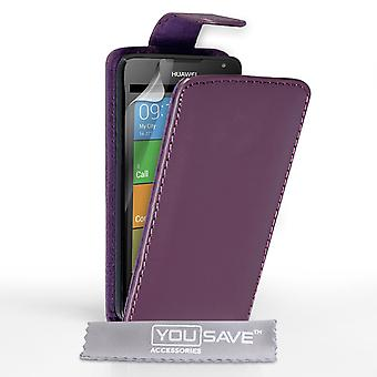 Yousave Accessories Huawei Ascend Y530 Leather-Effect Flip Case - Purple