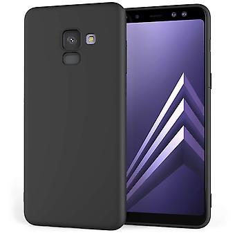 Samsung Galaxy A8 pluss (2018) TPU bærevesken - Solid sort Matte