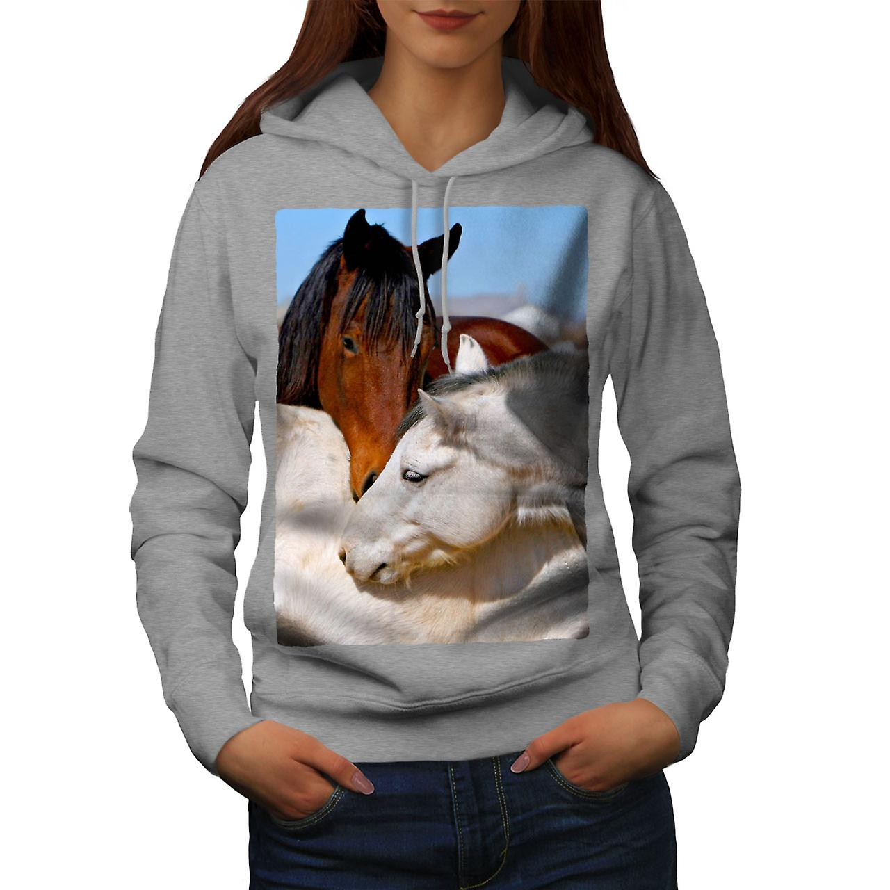 Cheval amour Photo femmes animaux grisHoodie