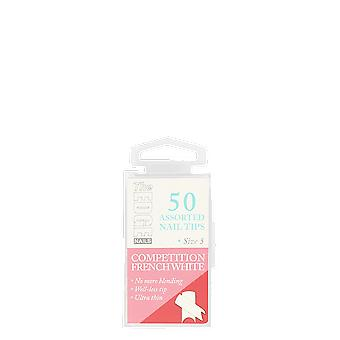 The Edge Nails Competition French White Assorted Tips Size 5 (50 Pack)