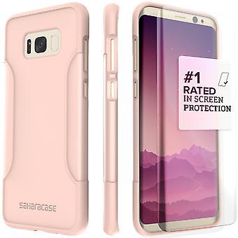 S8 SaharaCase Galaxy Plus caso clásico, Kit de protección con ZeroDamage vidrio - templado oro rosa