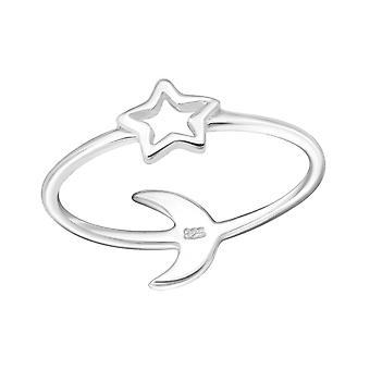 Sterne und Mond - 925 Sterling Silber Plain Ringe - W24615X