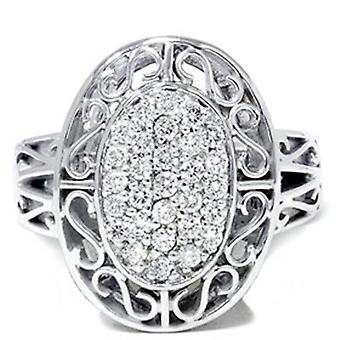 Jahrgang 3 / 4ct große ebnen echter Diamant Weißgold Ring