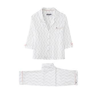 Feather Print Trouser Set Pyjama White
