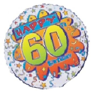 """Foil Balloon HAPPY 60th BIRTHDAY Bang 18"""" (Requires Helium)"""