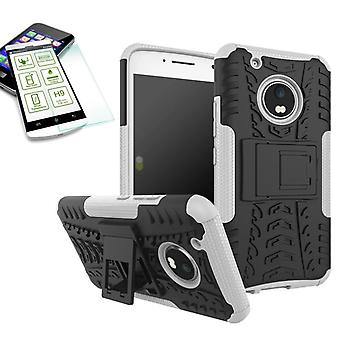 Hybrid Case 2teilig Weiß für Lenovo Moto G5 Plus + Hartglas Tasche Hülle Cover