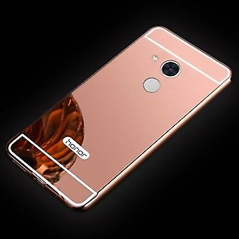 Mirror / Mirror aluminium bumper 2 pieces with cover Pink for Huawei honor 6A bag cover