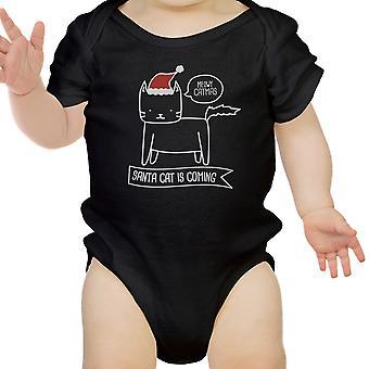 Meowy Catmas Santa kot słodkie dziecko graficzny Body czarny bawełniany Top