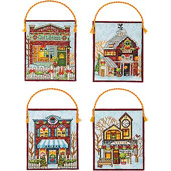 Winter Village Ornaments Counted Cross Stitch Kit-16 Count Set Of 4