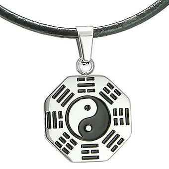 Amulet Yin Yang BA GUA Eight Trigrams Stainless Steel Lucky Charm Pendant on Leather Cord Necklace