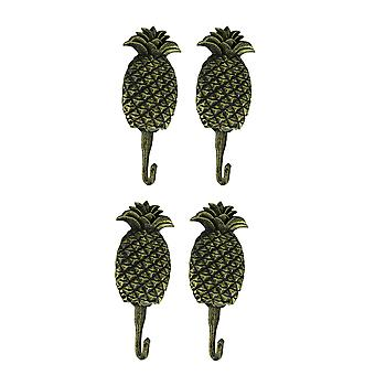 Black Gold Cast Iron Pineapple Wall Hook Set of 4