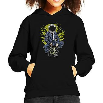 Fun Cool Bike To The Moon Kid's Hooded Sweatshirt