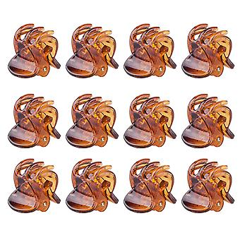 TRIXES 12Pc Stylish Brown Mini Hair Claws Clips Pins Clamps
