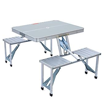 Trail Aluminium Picnic Table Portable Folding Chairs Set Camping Outdoor BBQ