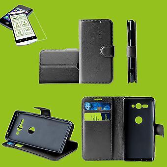 Pour Huawei P smart 2019 / honneur 10 Lite poche portefeuille prime gaine de protection noir étui + 0, 26mm verre dur 2.5 H9