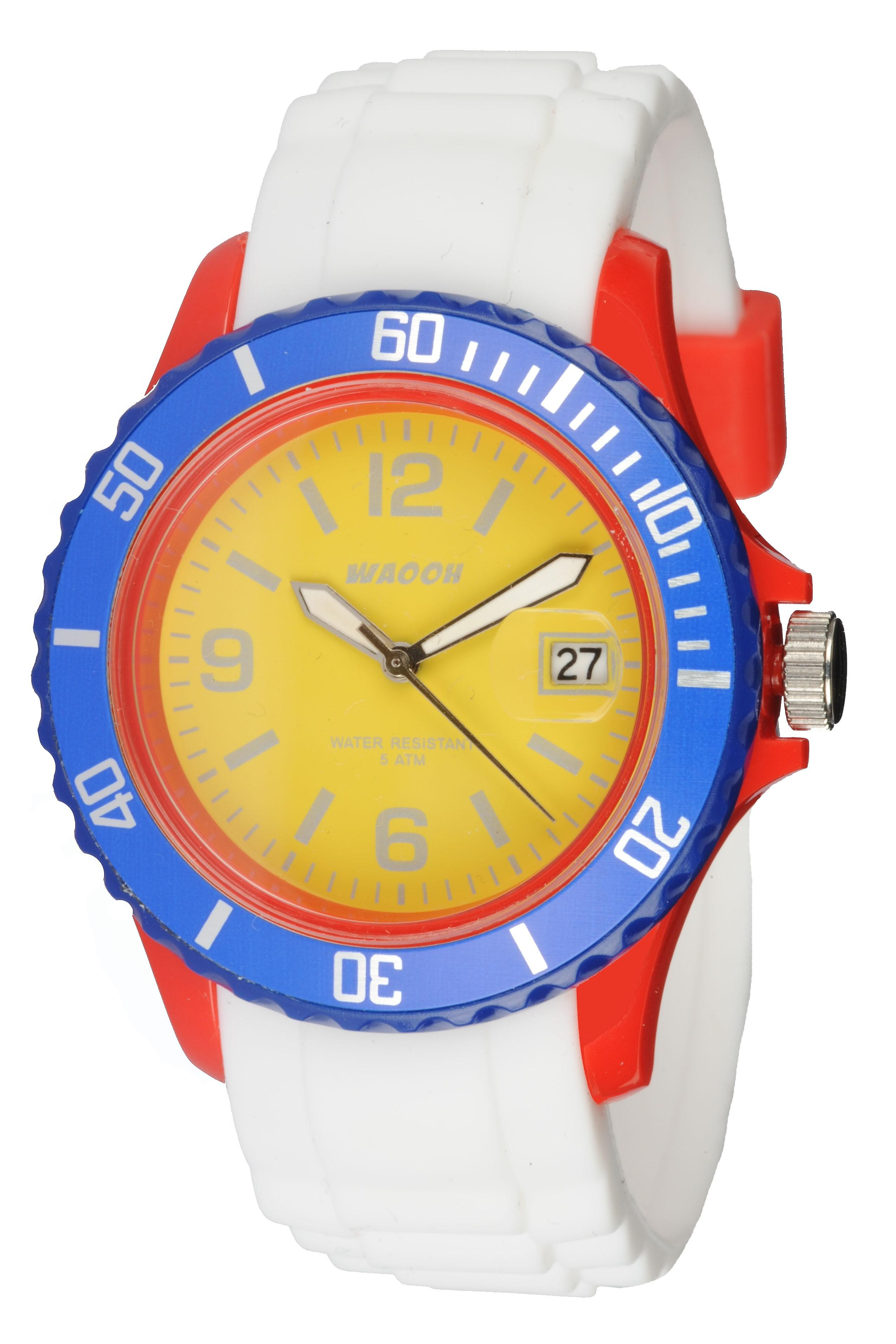Waooh - Monaco38 Watch - Multicolor Red Yellow & Blue