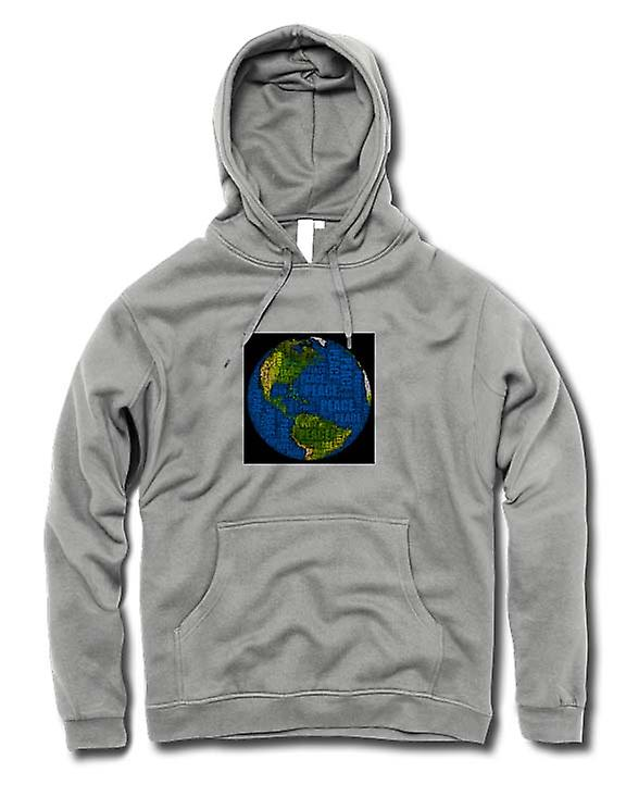 Mens Hoodie - Earth Peace Map