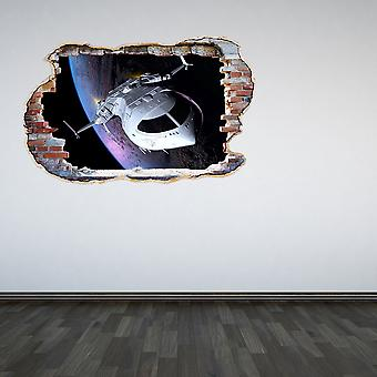 Full Colour Space Ship Smashed Wall 3D Effect Wall Sticker
