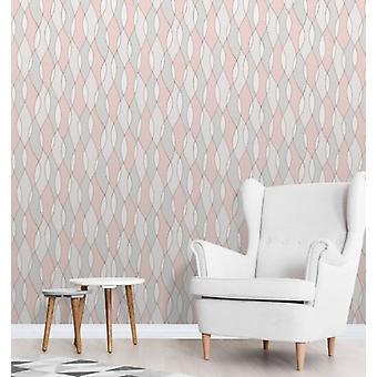 Elegant Apex Wave Sidewall Rose Gold Wallpaper Wall Decoration 0.52m x 10.05m