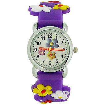 Relda Childrens Girl's 3D Colorful Flower Purple Silicone Strap Watch REL42